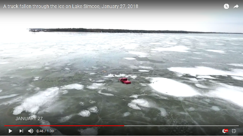 Video shows truck fallen through ice on Lake Simcoe