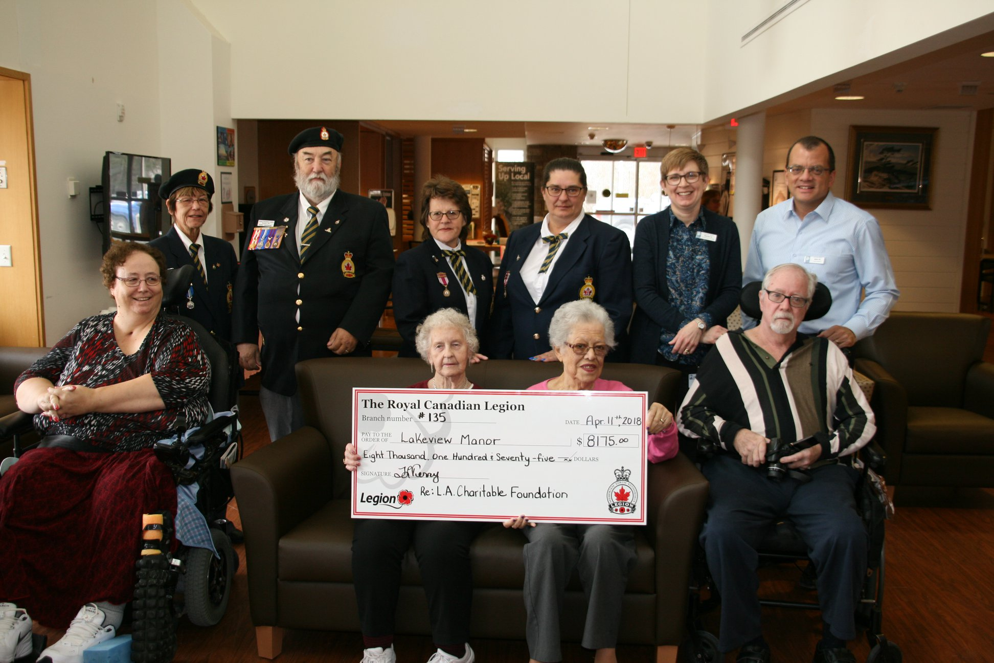 Beaverton Legion Ladies Auxiliary donates nearly $8,200 for new equipment at Lakeview Manor