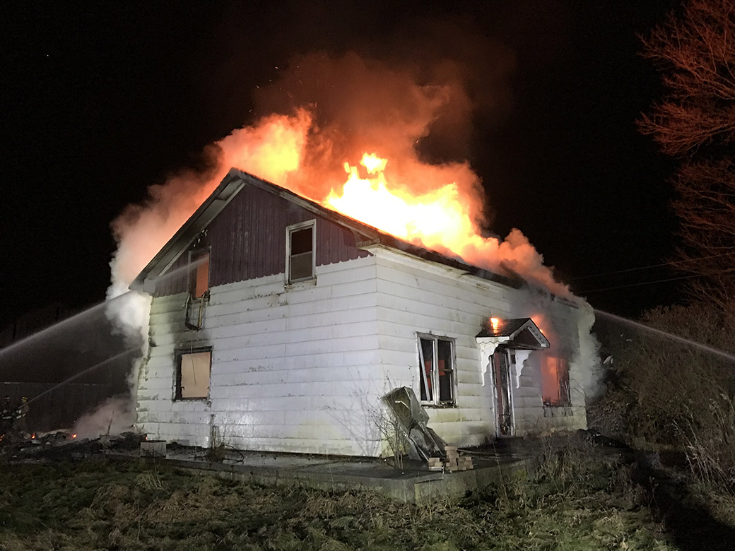 Early-morning fire destroys house