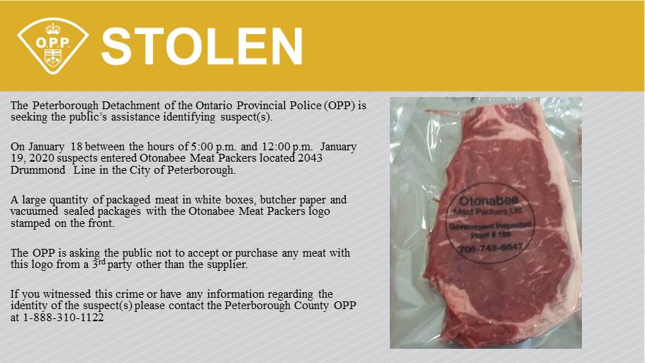 Large quantity of meat stolen from business in Peterborough area